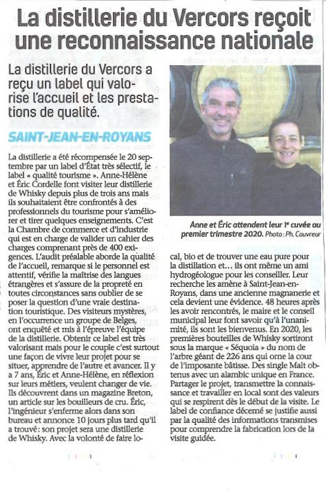 La Distillerie du Vercors a reçu le label qualité Tourisme