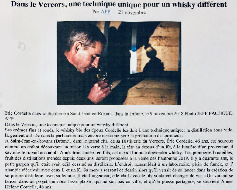 Article du journal Libération sur le whisky séquoia de la Distillerie du Vercors