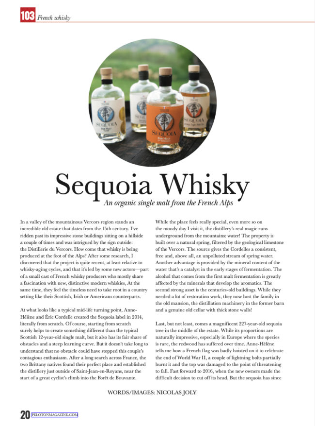 Whisky Sequoia dans Peloton Magazine